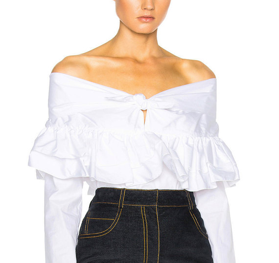EVA Off-the-shoulder Ruffled Cotton-poplin Blouse