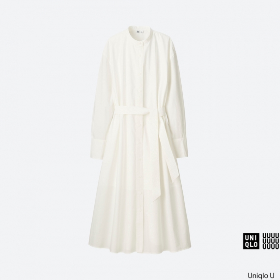 WOMEN Uniqlo U Cotton Long Sleeve Long Shirtdress AU$79.90