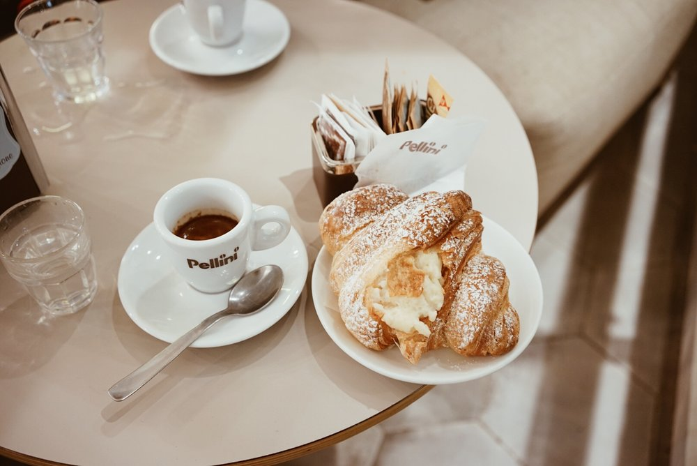 Bologna, Italy coffee and cornetto (croissant)