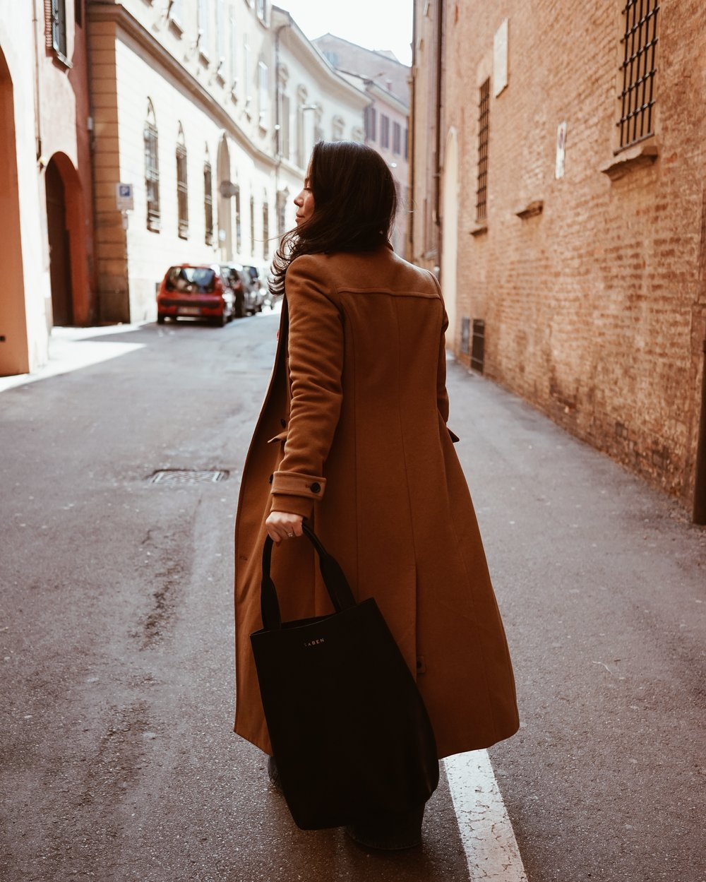 Me roaming the streets of Bologna with my  Saben tote  (click to receive 10% off)