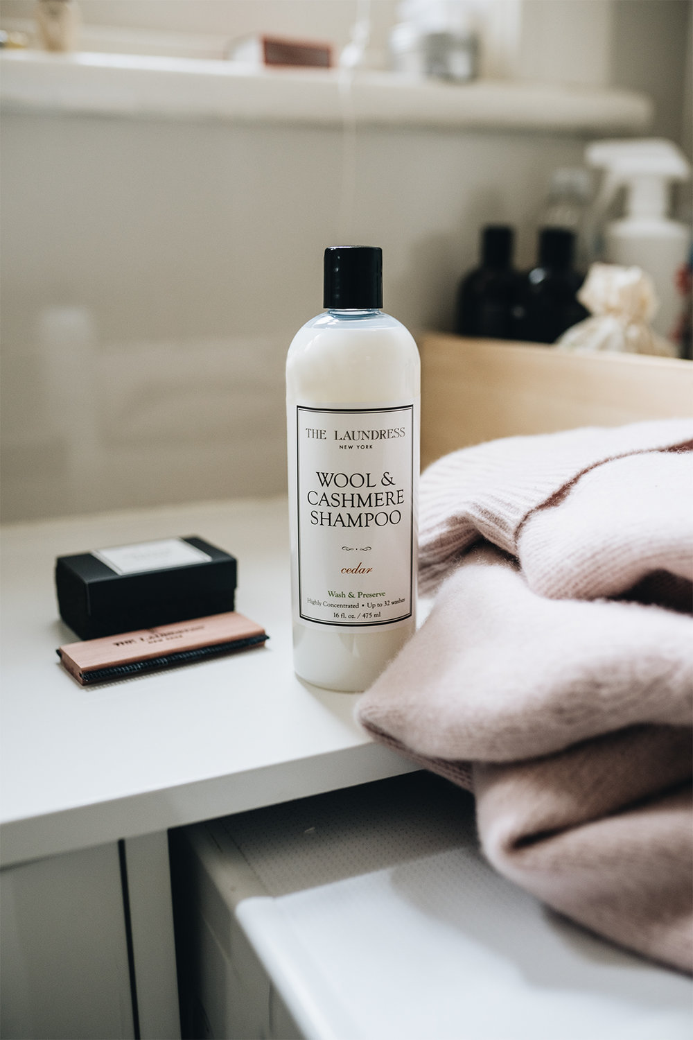 The Laundress Wool & Cashmere Shampoo   This The Laundress shampoo is specially formulated for delicate natural fibers such as wool, cashmere, merino, and mohair. The scent is a blend of sandalwood, orange, rose, and cedar.