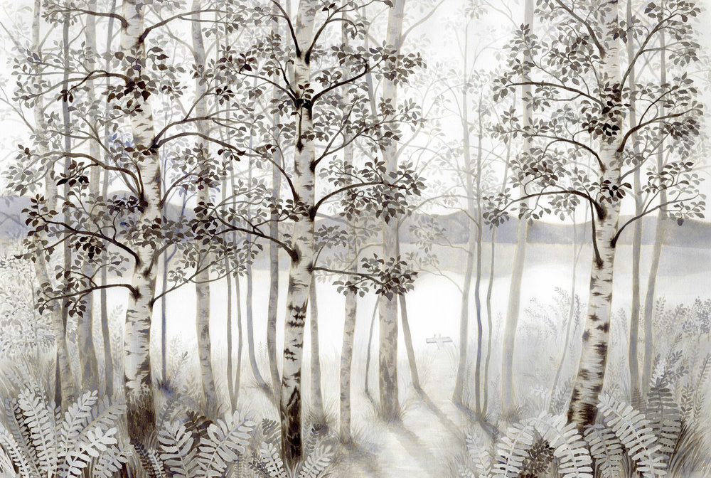 Birch trees and a lake / ink on paper / 650*460 / 2016  (Sold)