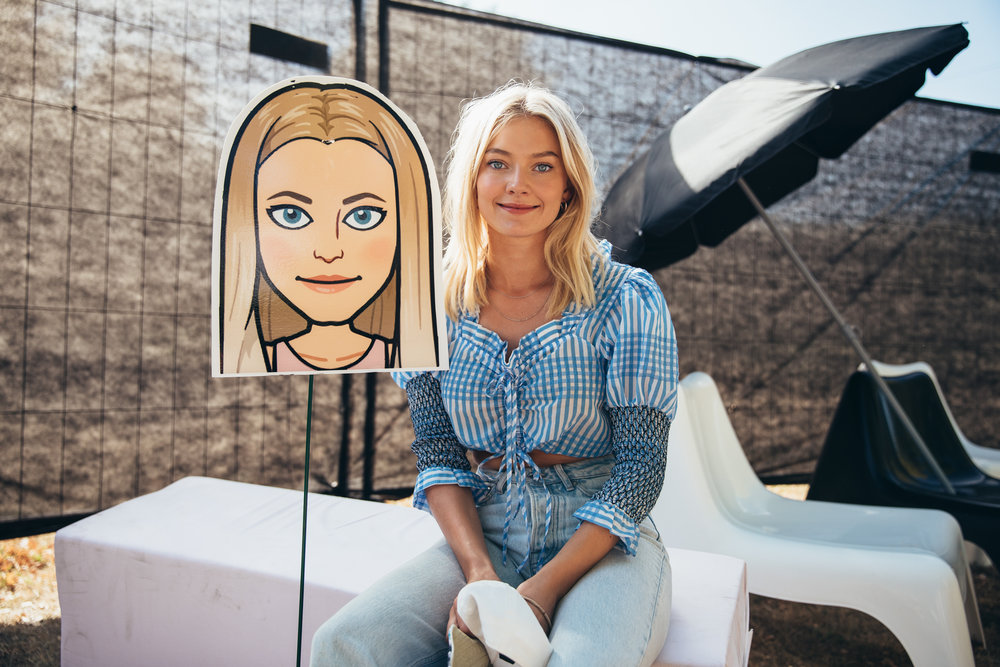 "- Astrid S with her model on her 25cm narrow and 5m long ""Paper Thin"" themed minigolf hole."