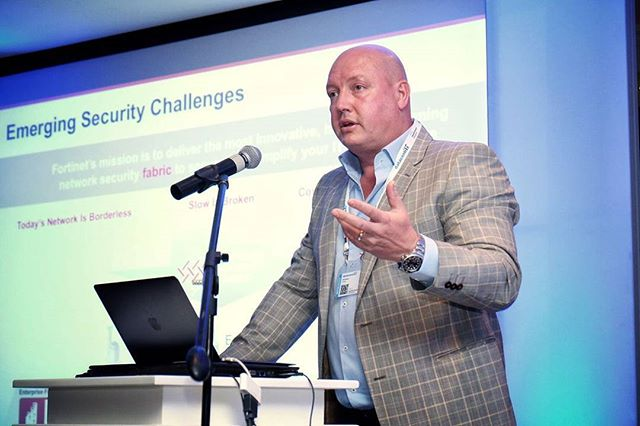 @behindthefirewall MAM #brettbester educating the #DCxShowcase crowd on #emerging #security #challenges  Pic: Chris Wessels  #fortinet #securityfabric