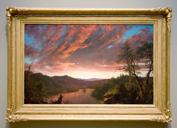 """Twilight in the Wilderness"" (1860), by Frederic Edwin Church, with a replacement mid-19th-century frame."