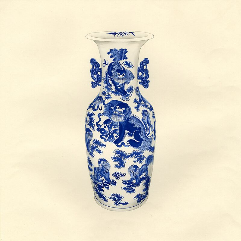 Blue and White Asian Urns