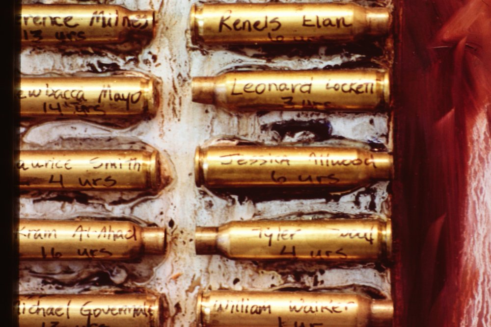 Close up - bullet casings in news article
