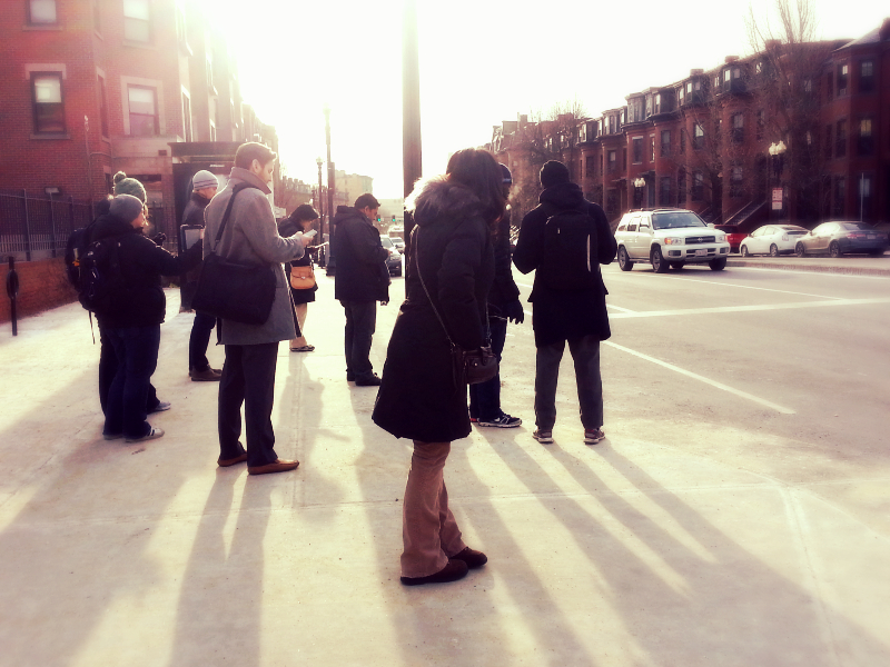 waiting for the number 1 bus on  mass ave   (sonya kovacic)
