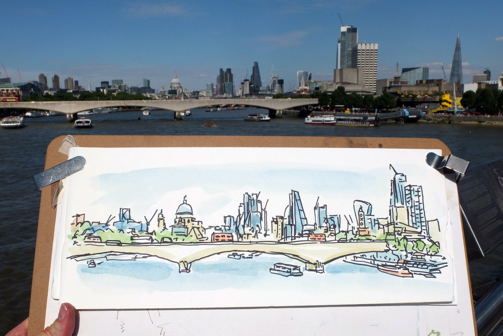 One of my favourite views – London skyline from Hungerford Bridge