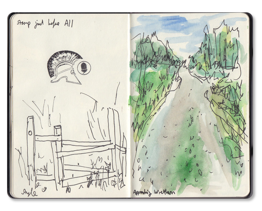 Sketchbook drawing from the warm up walk.