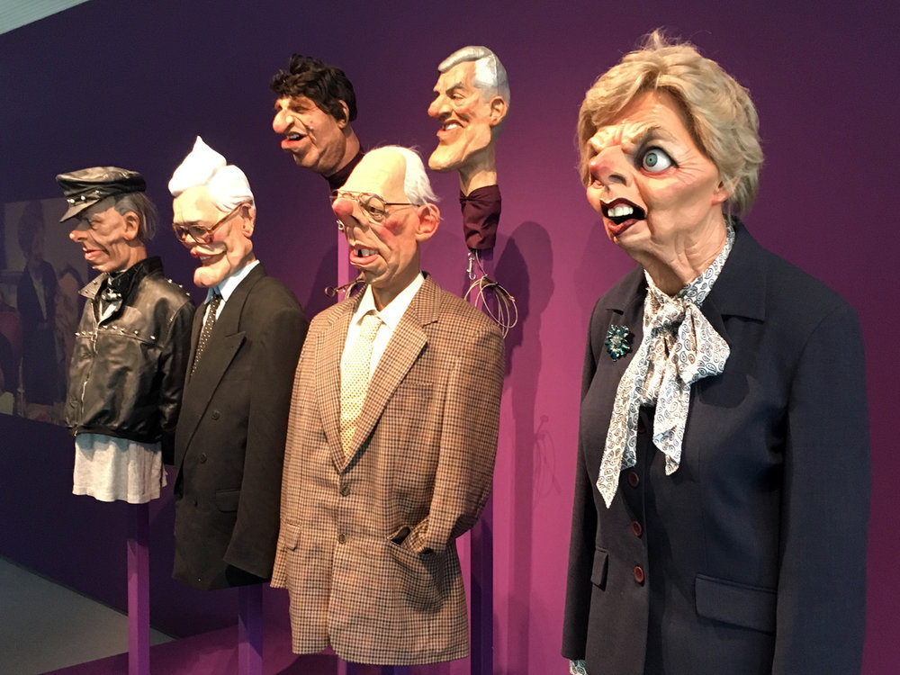 Some of the Spitting image puppets, with Margaret Thatcher on the right.