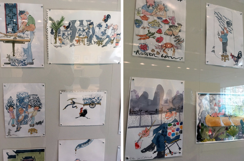 This wall of watercolour sketches accompanies the ceramics and beautifully shows Roger's love of drawing. I especially enjoy the sketch of the chicken running and the man pulling the trailer!