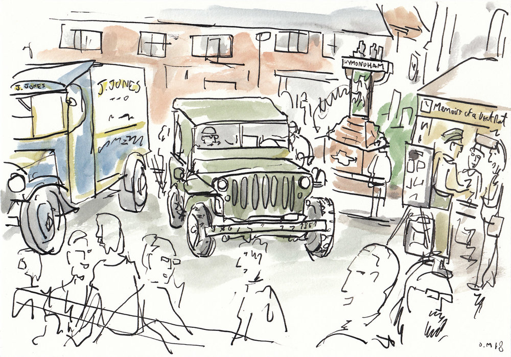 The butcher van from Dad's Army along with an old american jeep on Middleton Street