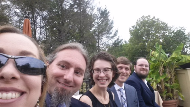Holly and her husband Jeff, me and Chris, and David!  His girlfriend, Sarah, is not pictured, as she was getting ready to officiate the wedding.  She also officiated ours, so it was special seeing her do it for someone else too.
