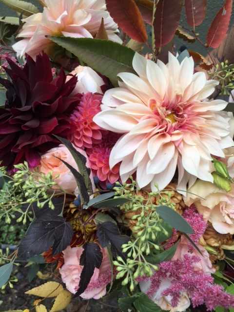 This is a close up of a bouquet that Sarah (another designer at V+V) made the other week and I seriously keep looking at it all the time.  That dahlia is absolutely bananas.