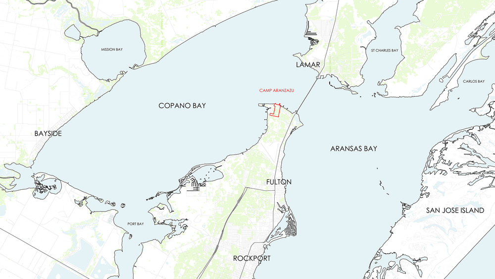 Camp Aransas is located on Redfish Point, part of an innercostal Bay system north of Corpus Christi, TX