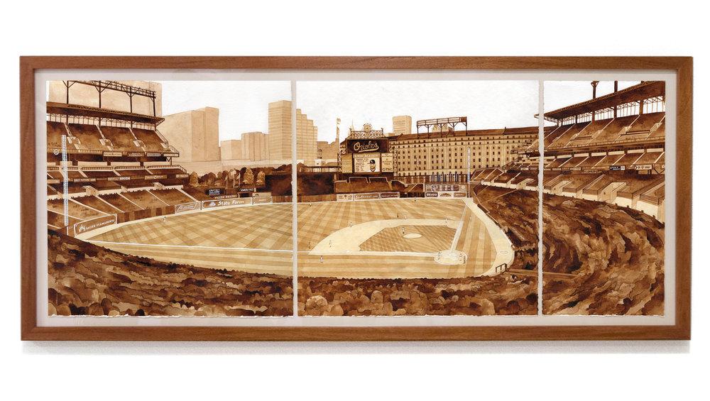 "ORIOLE PARK at CAMDEN YARDS  Kansas City Royals v Baltimore Orioles, June 8, 2016 ink, 36"" x 15"" Kansas City 0 - Orioles 4 Section 45, Row 7, Seat 3"