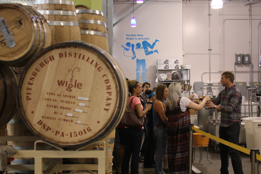 Tour signage installed at Wigle Whiskey with CNC cut vinyl depicting a player in the Whiskey Rebellion