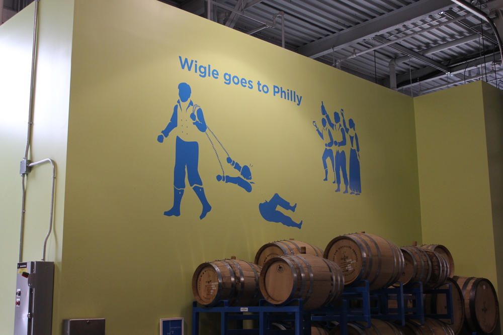 Tour signage installed at Wigle Whiskey with CNC cut vinyl.