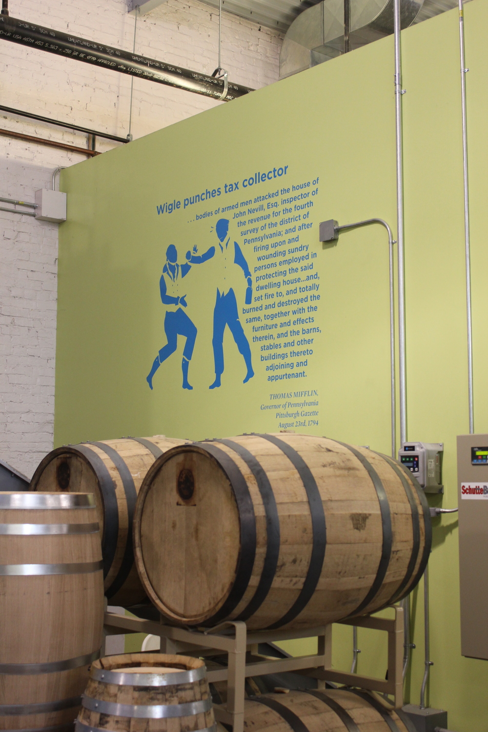 Tour signage installed at Wigle Whiskey with CNC cut vinyl