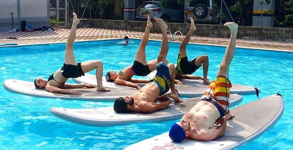 SUP Yoga with friends in Medellin, Colombia