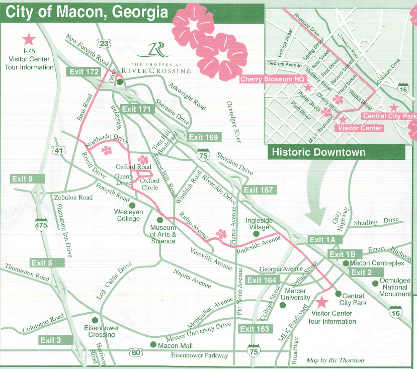 Cherry Blossom Trail The Lamar - Georgia map macon