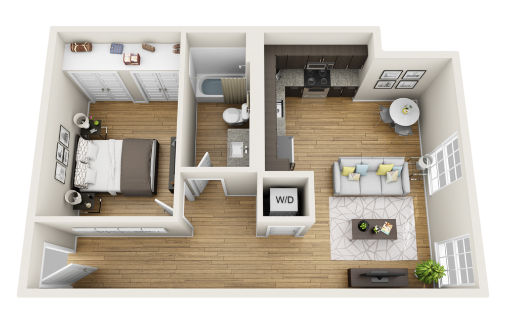 Capitol Loft 3D Floor Plan 1 Bedroom