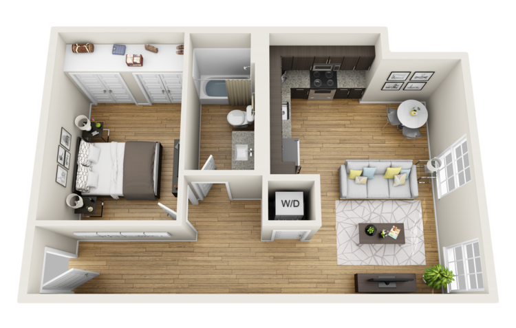 Capitol Loft 3D Floor Plan. 1 Bedroom Apartments in Macon GA   The Lamar