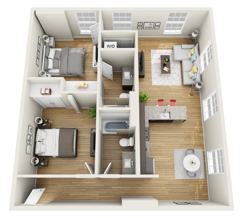 2 bedroom townhomes design inspirations Two bedroom apartments