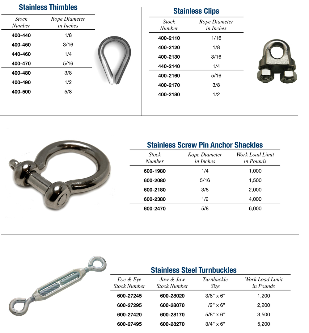STAINLESS STEEL HARDWARE — Nelson Wire Rope