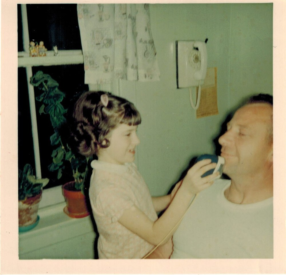Dad was brave...he let me shave him. Dad was smart...he gave me the electric razor not a blade!