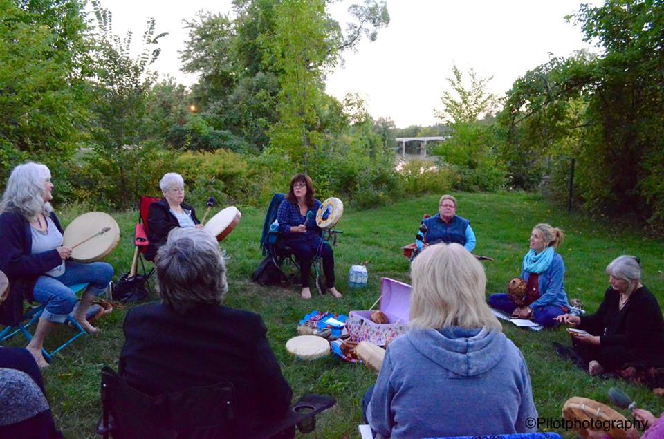 A lovely group of women gathered at the Marmora Dam for a fabulous evening of drumming.