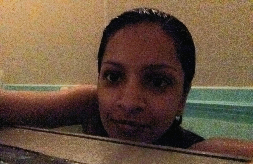 In the tub. Sorry about the graininess... It was dark in there.