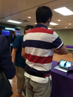A student at the University of Electro-Communications in Tokyo presents a belt that applies pressure to the right of the waist, making the conference participant feel like his torso is turning left. The illusion is magnified while walking. While most of us are aware of several optical illusions, this is an example of a pretty freaky haptic illusion.