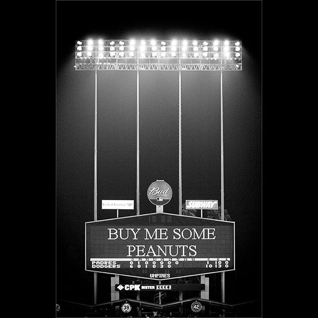 #BW #bnw #blacknwhite#blackandwhite #blackandwhitephoto#bnwphotography #blackandwhitephotography #baseball #dodgers #dodgerstadium #art #buymesomepeanuts #takemeouttotheballgame #crackerjack #ballgame