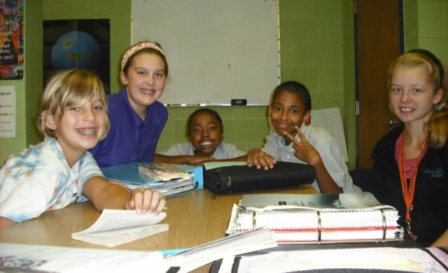 Annalee (2nd from left) with friends in LASS class during 5th grade at LJA.