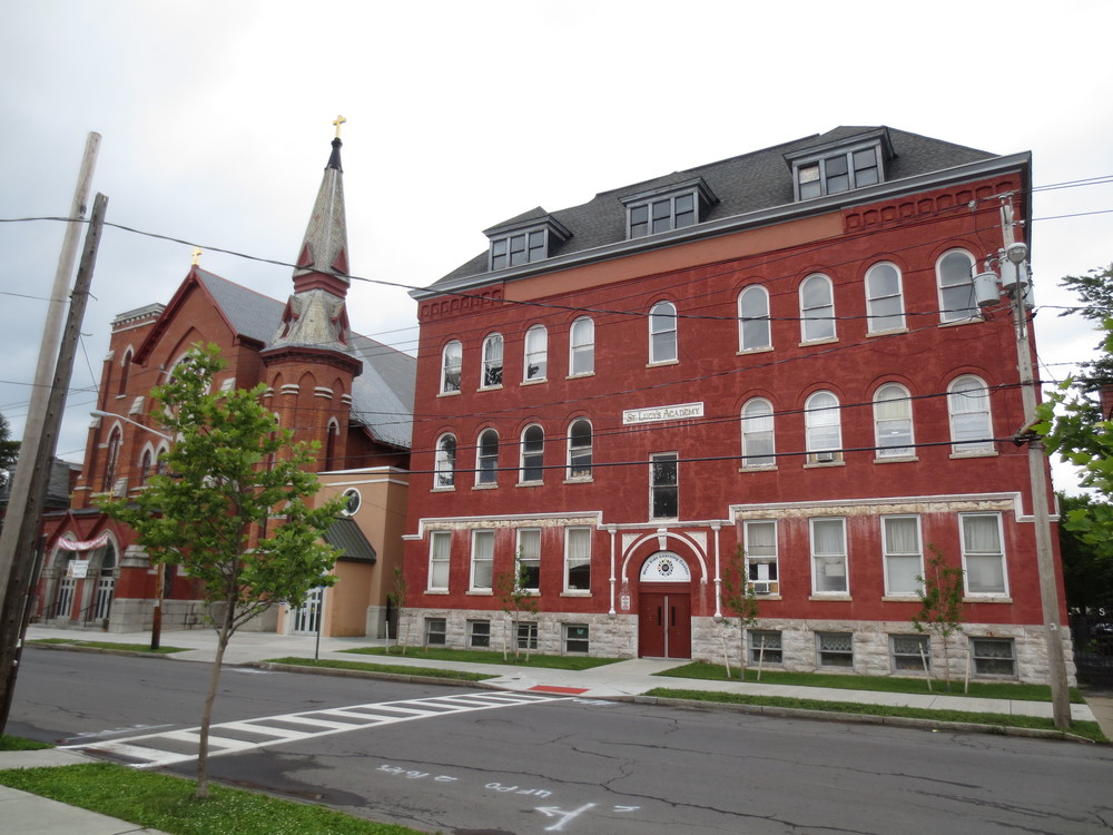 St. Lucy's Church on the left, the old St. Lucy's Academy on the right. The school is now Westside Learning Center, a terrific adult learning teaching center focused on ESL classes and job training/placement program. A really solid repurpose of a great space. THG has been provided office space on floor number two.