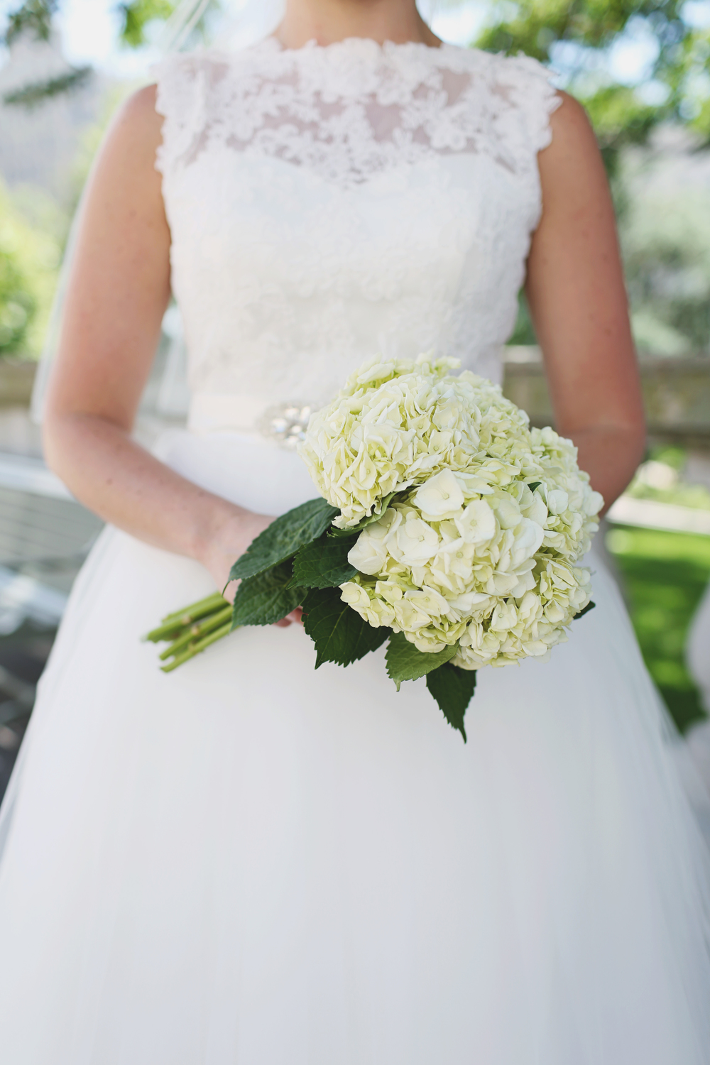 I LOVED this gorgeous bride's tea-length gown with lace details! Shot for Mallory McClure Photography!