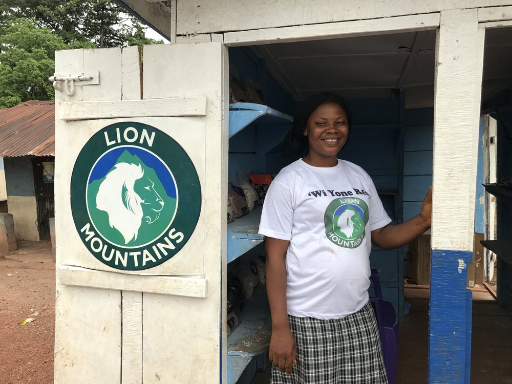 Lucinda, manager of the Lion Mountains kiosk at Senehun, in Kamajei Chiefdom, May 2017.