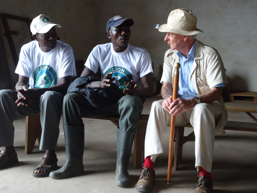 Paramount Chief Komrabai Peter Penfold, former UK High Commissioner to Sierra Leone and Director of Lion Mountains, in the mill with Lion Mountains staff, January 2015.