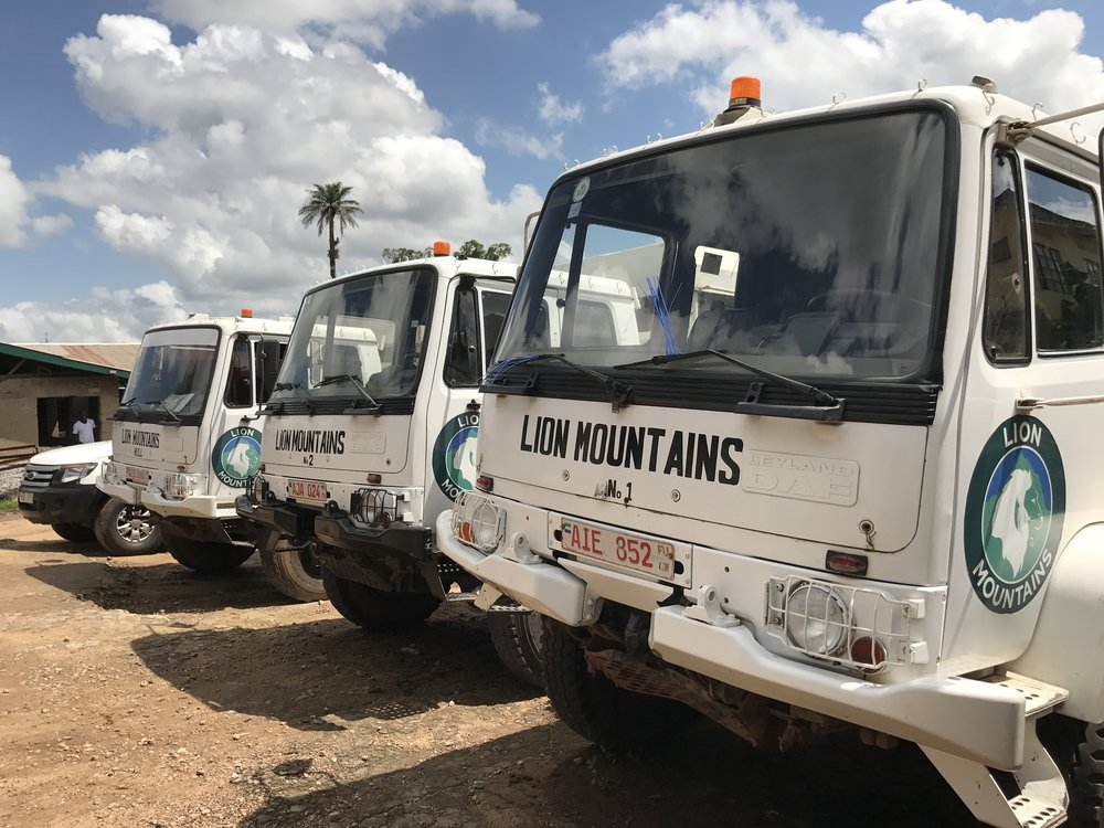 Lion Mountains trucks in the vehicle yard at the mill in Bo, May 2017.
