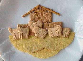 All you need is some wax paper, taco shells, animal crackers, crackers and pretzel sticks.