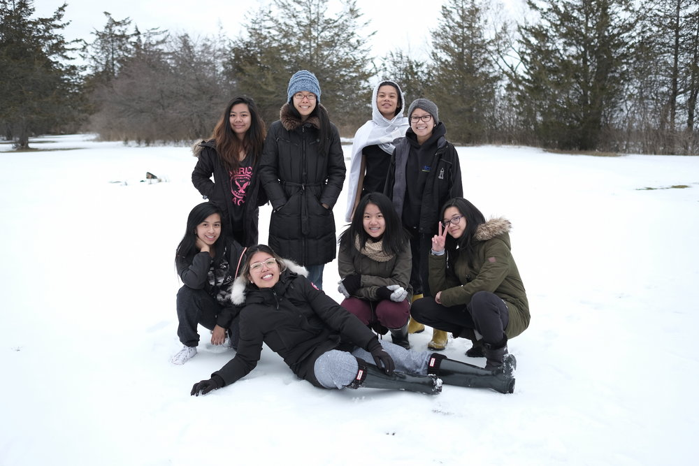 Elita (back row, second from left) getting much love from her teens at March Break retreat