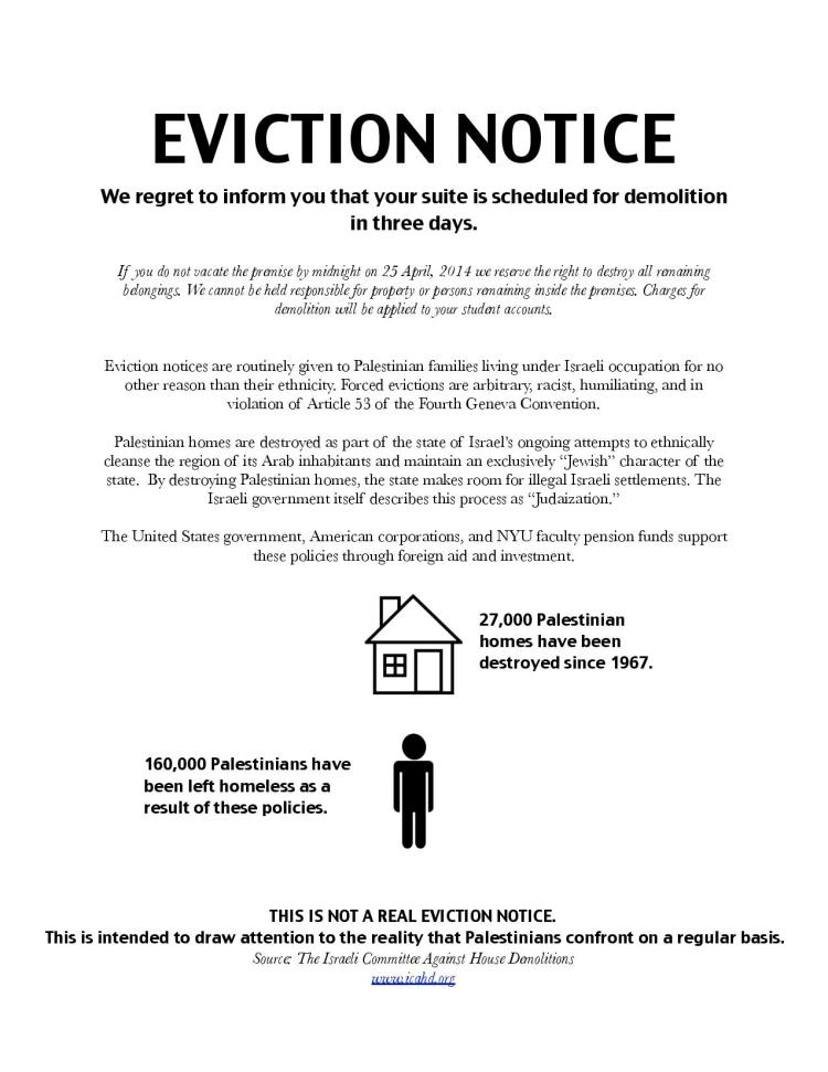 New York University SJP distributed mock eviction notices to two NYU residence halls in April 2014. (New York University Students for Justice in Palestine)