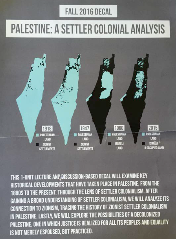"""Palestine: A Settler-Colonial Analysis"" course poster"