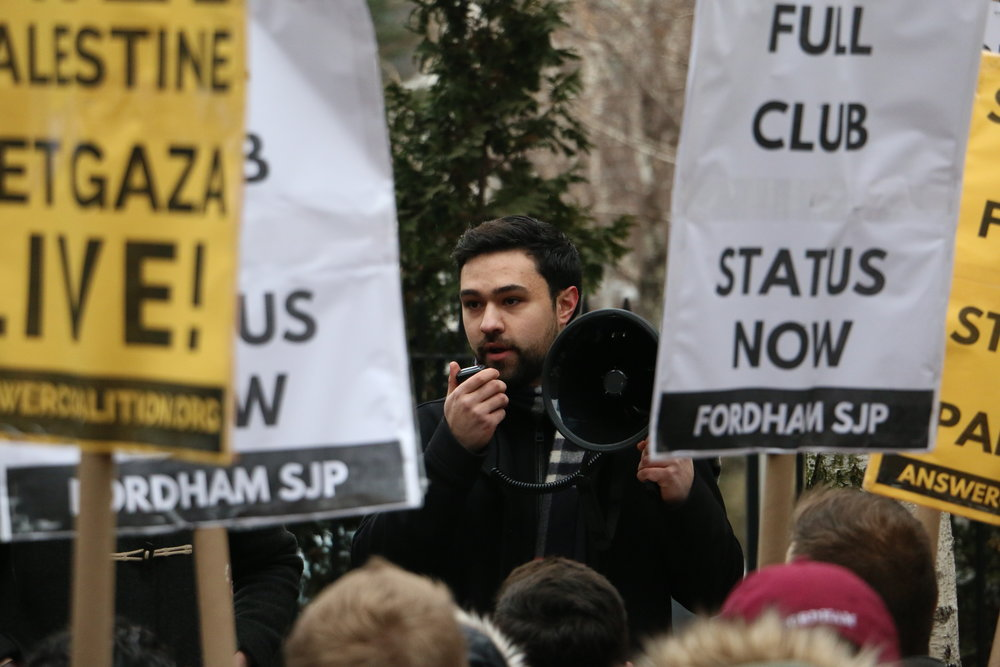 Ahmad Awad and students protest the ban on SJP Monday, January 23. Photo: Martin Nunez-Bonilla.