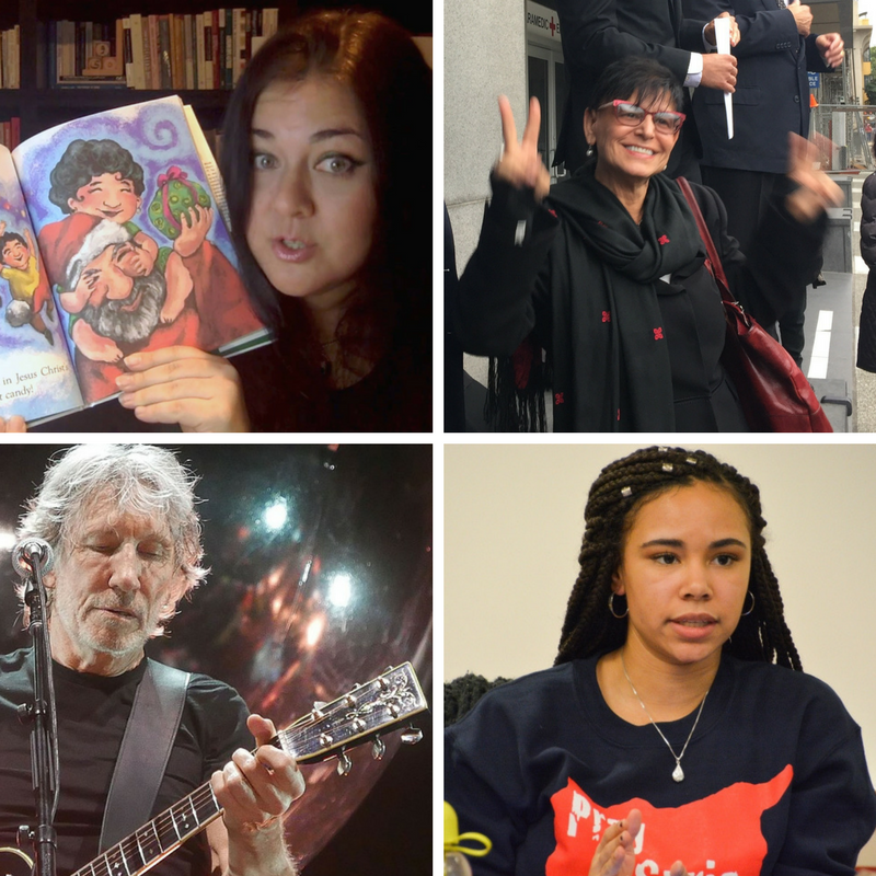 "TOP LEFT: GOLBARG BASHI, AUTHOR OF ""P IS FOR PALESTINE"" with her book, PHOTO: FACEBOOK. TOP RIGHT: PROFESSOR RABAB ABDULHADI AFTER A FEDERAL JUDGE SAID HE WOULD DISMISS A LAWSUIT TARGETING HER, PHOTO: LIZ JACKSON. BOTTOM LEFT: ROGER WATERS WHOSE CONCERTS WERE MET WITH CALLS FOR CANCELLATION, PHOTO: WIKI COMMONS/DAVIDWBAKER. BOTTOM RIGHT: CARMEN GOSEY WHOSE ACTIVISM WAS TARGETED BY KENNETH MARCUS, PHOTO: LEAH VOSKUIL."