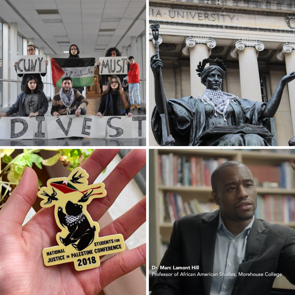 Top left photo by Jesse Rubin. Top right photo by Columbia University SJP. Bottom left photo by National Students for Justice in Palestine. Bottom right photo by Lawville Solutions.