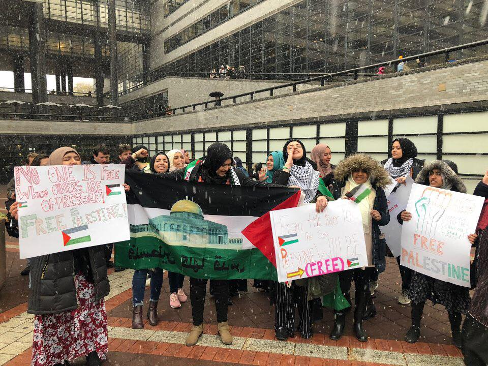 Students gather at an SJP-led protest at City College against the visit of Israeli consul general Dani Dayan in November 2018. (Credit:  Students for Justice in Palestine at City College)