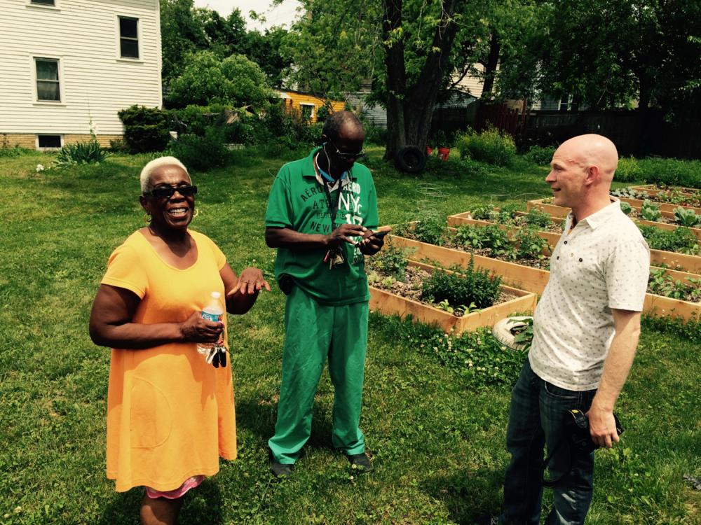 Liz, Reggie and Seth in the Possibilitarian Garden.
